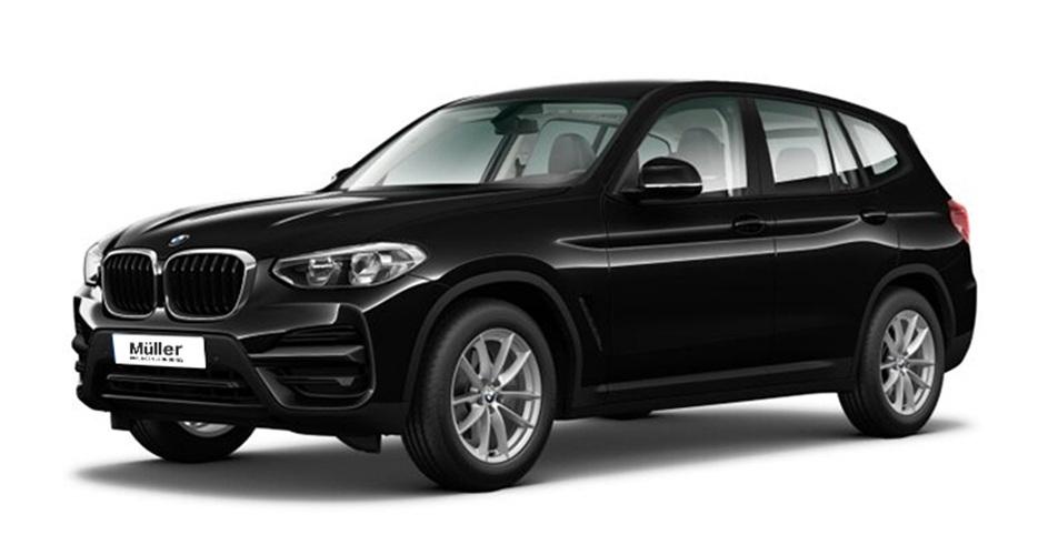 Ein Bild von einem schwarzen BMW X3 xDrive20d vor einem weißen Hintergrund.